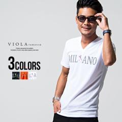 Tシャツ メンズ 半袖 VIOLA ヴィオラ プリント入りVネック半袖Tシャツ 即日発送 Tシャツ メンズ 半袖 ミラノ プリント ロゴ Vネック ライ