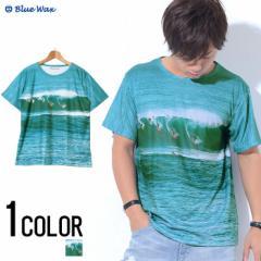 Tシャツ メンズ 半袖 Blue Wax ブルーワックス Men of surfing クルーネックTEE 即日発送 Tシャツ メンズ 半袖 リゾート BITTER系 ビター