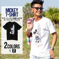 【SALE】CavariA【キャバリア】DISNEY コレクション サーフ ミッキー プリント クルーネック 半袖 Tシャツ/全2色 メンズ ディズニー