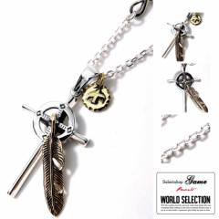 【お取り寄せ商品】game WORLD SELECTION Wheel Fether Cross Metal シルバー ネックレス/全1色【ご注文から1週間〜10日前後】(■)