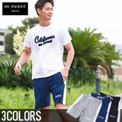【SALE】No sweat.【ノースウェット】サイドライン ロゴ 刺繍 スウェット ショーツ/全3色 メンズ ハーフパンツ 膝上 ビター系