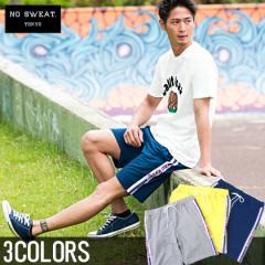 【SALE】No sweat.【ノースウェット】サイドロゴ ライン スウェット ショーツ/全3色 メンズ ハーフパンツ サイドライン 膝上