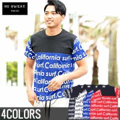 【SALE】No sweat.【ノースウェット】英字 プリント 切替 クルーネック 半袖 Tシャツ/全4色 メンズ 総柄 ストリート ビター系