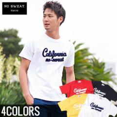 【SALE】No sweat.【ノースウェット】ロゴ サガラワッペン Tシャツ/全4色 メンズ カリフォルニア サーフ 半袖 クルーネック ホワイト