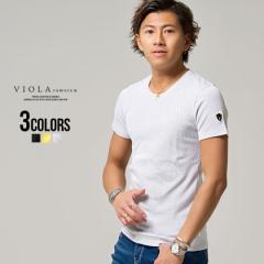 Tシャツ メンズ 半袖 ビッグプリント クルーネック VIOLA ヴィオラ 即日発送 トップス ロゴ タイト ホワイト イエロー ブラック M L XL