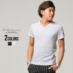 Tシャツ メンズ 半袖 Vネック 無地 VIOLA ヴィオラ 即日発送 トップス インナー カットソー 細身 タイト ホワイト ブラック 黒 M L XL