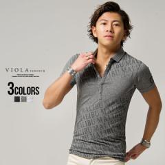 ポロシャツ メンズ 半袖 総柄 ロゴ プリント VIOLA ヴィオラ 即日発送 トップス 細身 タイト ブラック オフホワイト グレー 黒 M L XL