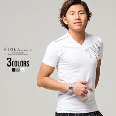 Tシャツ メンズ 半袖 Vネック 英字 プリント VIOLA ヴィオラ 即日発送 トップス 細身 タイト ブラック ホワイト グレー 黒 白 M L XL