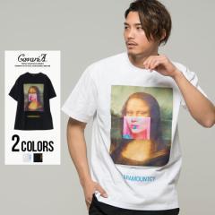 Tシャツ メンズ 半袖 ガールズフォト コラージュ CavariA キャバリア 即日発送 トップス カットソー 綿 コットン ホワイト ブラック M L