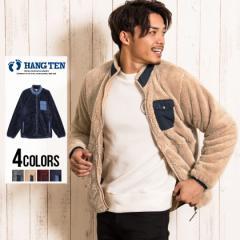 ボアジャケット メンズ HANG TEN ハンテン スタンドカラーボアジャケット 即日発送 アウター ジャケット ブルゾン ワンポイント 刺繍 ジ