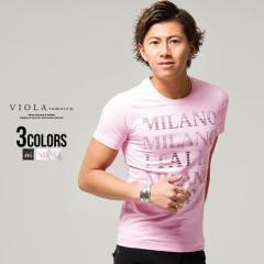 Tシャツ メンズ 半袖 ロゴ プリント クルーネック VIOLA ヴィオラ 即日発送 トップス 細身 タイト ピンク ホワイト ブラック 黒 M L XL