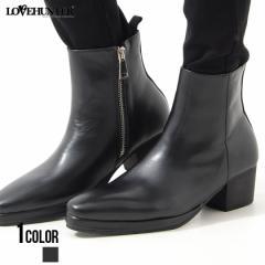 ブーツ メンズ LOVE HUNTER ラブハンター ハイヒールストームブーツ 即日発送 靴 ハイヒール 合成皮革 サイドジップ 美脚 フォーマル ド