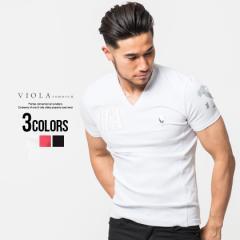 セール価格 SALE 25%OFF Tシャツ メンズ 半袖 VIOLA ヴィオラ エナメルワッペン貼付けVネック半袖Tシャツ 即日発送 トップス カットソー