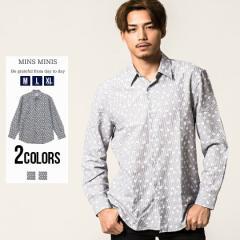 シャツ メンズ 長袖 MINS MINIS ミンスミニース 総柄レギュラーカラー長袖シャツ 即日発送 トップス インナー カジュアルシャツ ドレスシ