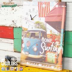 クロック 壁掛け時計 置き時計 Kahiko カヒコ リノクロックアートボード 即日発送 インテリア 雑貨 ハワイアン アートボード 風景 リゾー