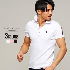 セール価格 SALE 30%OFF VIOLA ヴィオラ ビオラ ポロシャツ メンズ 半袖 トップス インナー レインボー 刺繍 細身 タイト ストレッチ ミ