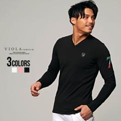 セール価格 SALE 30%OFF Tシャツ メンズ 長袖 トップス カットソー ロンT Vネック エンブレム ワンポイント ラインストーン 細身 タイト
