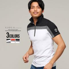 セール価格 SALE 30%OFF Tシャツ メンズ 半袖 VIOLA ヴィオラ ビオラ トップス カットソー ハーフジップ ロゴ 総柄 配色 切替 細身 タイ