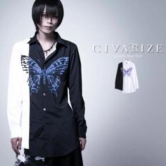2021 SS新作 CIVARIZE シヴァーライズ バタフライ切り替えバイカラーシャツ 返品対象外 即日発送 シャツ モード ヴィジュアル系 ビジュア