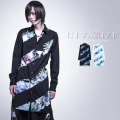2021 SS新作 CIVARIZE シヴァーライズ ストライプフラワープリントロングシャツ 即日発送 シャツ 花柄 ヴィジュアル系 ビジュアル系 V系