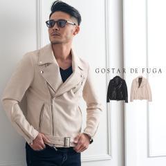 2021 SS新作 GOSTAR DE FUGA ゴスタールジフーガ フェイクスエードダブルライダースジャケット メンズ ファッション 黒 きれいめ スウェ