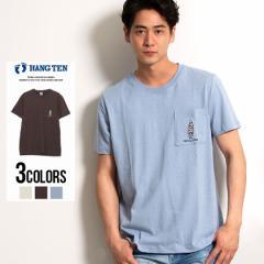 セール価格 SALE 30%OFF HANG TEN ハンテン Tシャツ メンズ 刺繍 サーフボード ポケット付 ロゴ クルーネック 半袖 アイボリー ブラウン