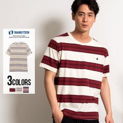 HANG TEN ハンテン Tシャツ メンズ 半袖 クルーネック ボーダー柄 トップス インナー 半袖Tシャツ ワンポイント 刺繍 ブランド ビックシ