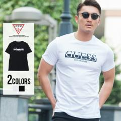 Tシャツ メンズ 半袖 GUESS ゲス トップス インナー カットソー クルーネック ロゴ 刺繍 モノトーン シンプル 綿100% コットン ユニセッ