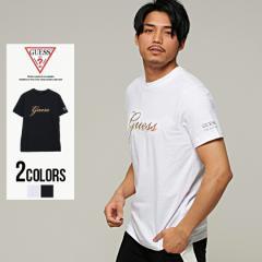 Tシャツ メンズ 半袖 GUESS ゲス トップス インナー カットソー クルーネック メタリック エンボス ロゴ 綿100% コットン ユニセックス