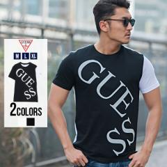 Tシャツ メンズ 半袖 GUESS ゲス トップス インナー カットソー クルーネック 配色 切り替え 切替 メタリック ロゴ プリント 綿100% コッ