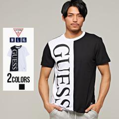 Tシャツ メンズ 半袖 GUESS ゲス トップス インナー カットソー クルーネック 配色 切り替え 切替 ロゴ プリント モノトーン バイカラー