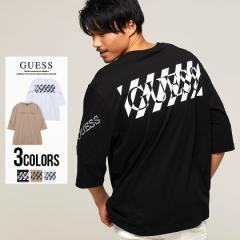 Tシャツ メンズ 半袖 GUESS ゲス トップス インナー カットソー クルーネック ロゴ プリント ビッグシルエット ゆったり 綿100% コットン
