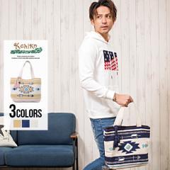 トートバッグ メンズ オルテガ柄 刺繍 Kahiko カヒコ タッセル ベージュ ネイビー ホワイト ビーチ サーフ ユニセックス 即日発送