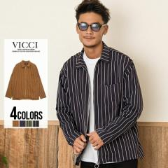 VICCI ビッチ ストライプ柄 8分袖 ジップシャツ 全4色 即日発送 メンズ 長袖 8分袖 光沢 ジップアップ ZIP 羽織 トップス ストライプ