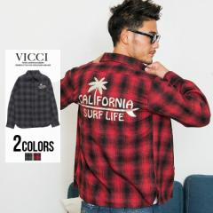 チェックシャツ シャツ メンズ ネルシャツ チェック柄 VICCI ビッチ CALIFORNIA サーフ 刺繍 長袖 チェックシャツ 即日発送