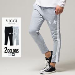 スウェットパンツ メンズ サイドライン パンツ 星柄 スター VICCI ビッチ プリント スリム 全2色 即日発送 細身 スキニー ルームウェア