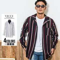 VICCI ビッチ ストライプ柄 オープンカラー 長袖 シャツ/全4色 メンズ 開襟 総柄 キレイめ オープンカラー M L カジュアル