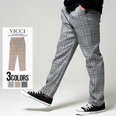 ワイドパンツ メンズ VICCI ビッチ チェック柄/全3色 即日発送 ゆったり ロング きれいめ 太め 春 ブラック ブラウン グレー 黒 M L XL