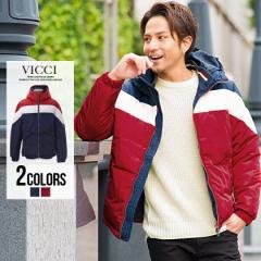 【SALE】切り替え 中綿 ブルゾン フード メンズ VICCI【ビッチ】フード付き 配色切替 ブルゾン/全2色 襟 ジップ アウター 軽い