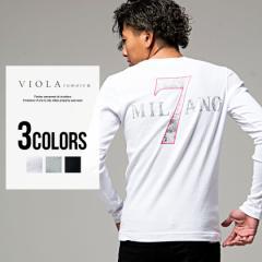 tシャツ メンズ 長袖 vネック ストレッチ VIOLA ヴィオラ プリント入り Vネック Tシャツ/全3色 プリント M L XL