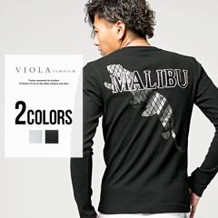 Tシャツ メンズ 長袖 ミラノ バックプリント Vネック VIOLA ヴィオラ プリント入り/全2色 ロゴ ホワイト ブラック 白 黒