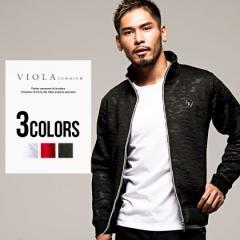 ジャケット メンズ ボンディング VIOLA ヴィオラ 総柄 エンボス フルジップアップ/全3色 迷彩 ホワイト ブラック レッド M L XL