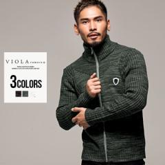 ジャケット メンズ ニット 長袖 ライトアウター VIOLA ヴィオラ 切替 スタンドカラー ジップアップ/全3色 M L XL イタリー