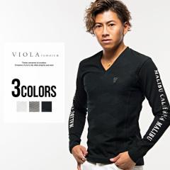 VIOLA ヴィオラ プリント入り ジャガード 切替 Vネック ニットソー/全3色 Tシャツ メンズ 長袖 ミラノ バックプリント ロゴ