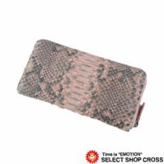 3c46d414e751 高級天然皮革 長札/長財布 ラウンドファスナー財布 ヘビ革 パイソン Python Pink