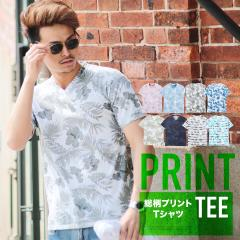 Tシャツ メンズ カットソー 半袖トップス trend_d JIGGYS / 総柄プリントVネックTシャツ
