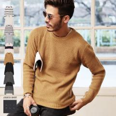 ニット メンズ セーター ユニセックス クルーネック トップス trend_d NIIRUS JIGGYS / 畦編みクルーネックニット