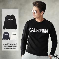 ニット メンズ セーター uネック クルーネック 英字 ロゴ トップス trend_d JIGGYS /「CALIFORNIA」ロゴジャガードニット