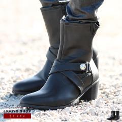 ブーツ メンズ 靴 エナメル ミドル ヴィジュアル系 送料無料 SEANA JIGGYS / ハイヒールブーツ
