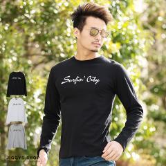 カットソー メンズ ロンT 長袖 トップス trend_d JIGGYS / サーフプリントクルーネックロンT